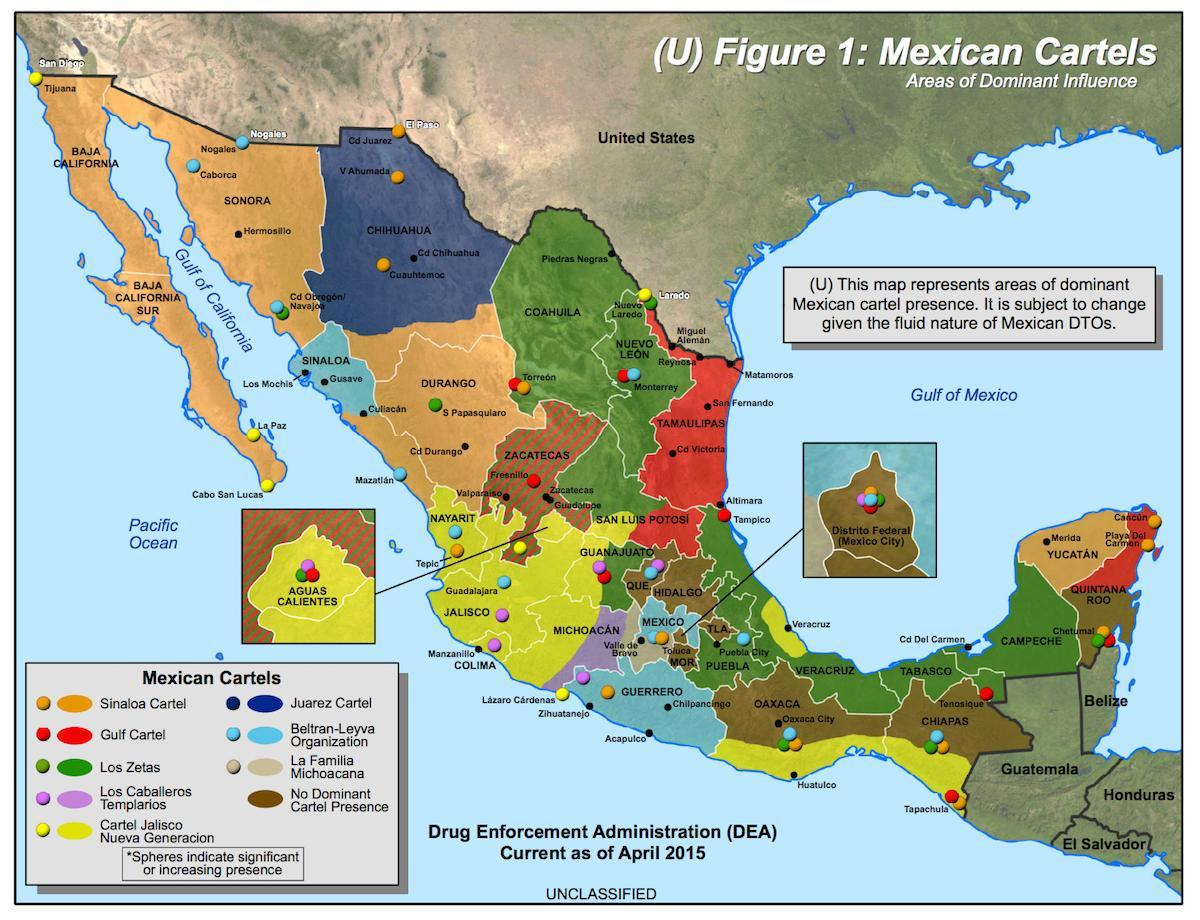 cartel mexicano mapa